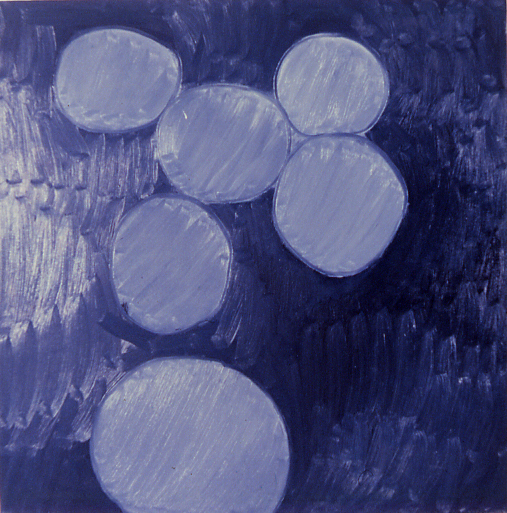 """""""molecular structure,"""" 68"""" x 68"""", oil on canvas, ©10.22.1983"""