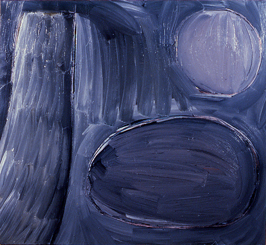 """""""objects in space,"""" 60"""" x 66"""", oil on canvas, ©3.10.1983"""