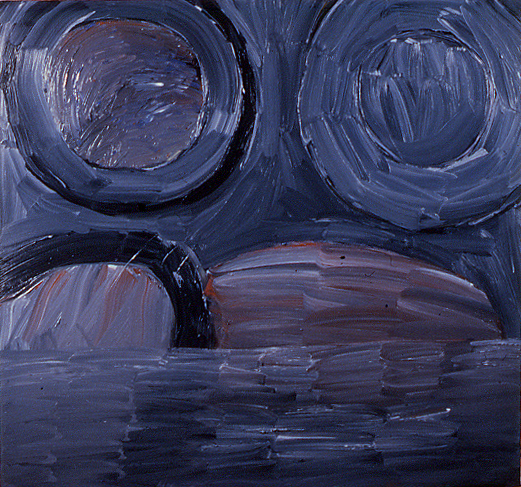 """""""2 Suns Over Planet with Lake & Abstract Oranisms Emerging Out of It at Dusk"""", 64"""" x 60"""", oil on canvas, ©3.16.1983"""