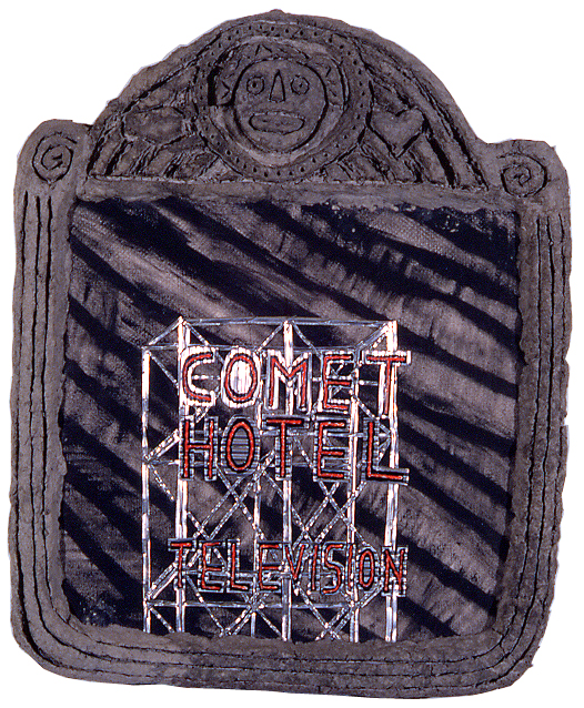"""""""Comet Hotel,"""" 27"""" x 21"""", acrylic, aluminum, celluclay on wood, ©1987"""