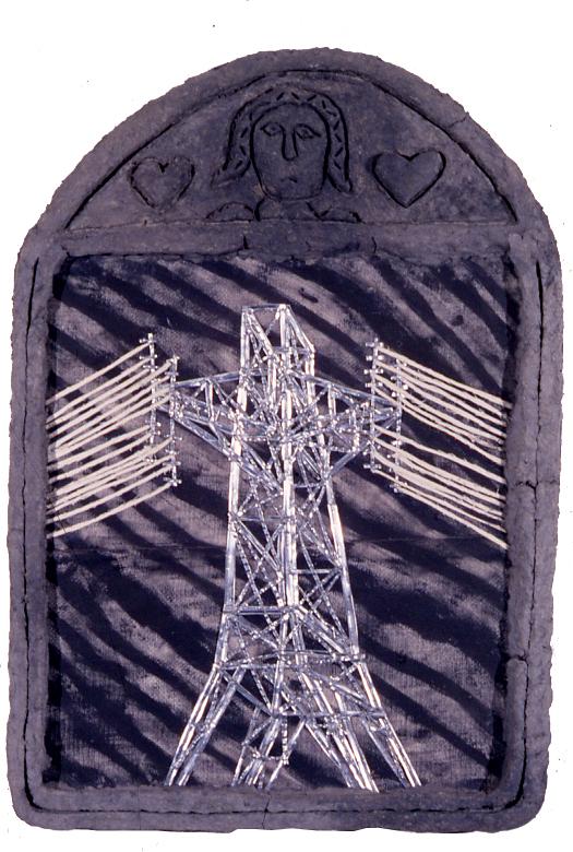 """untitled (hi-tension crucifix),"" 38"" x 41"", acrylic, aluminum,  celluclay on wood, ©1987"