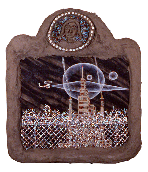 """bklyn waterfront,"" 16"" x 16"", acrylic, aluminum, celluclay  on wood, ©1988"