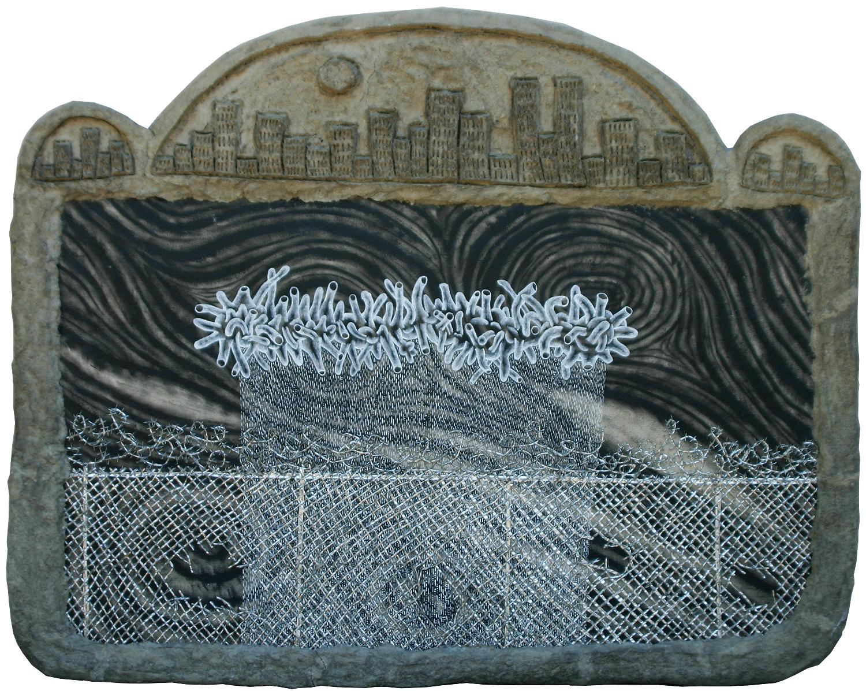 """viral impact,"" 33"" x 41.5"", acrylic, aluminum, celluclay on wood, ©1989"
