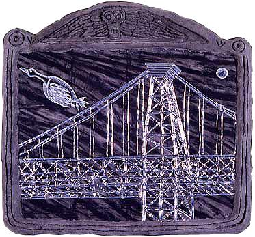 "'bridge 1' ©1987, 20.5"" x 21"", acrylic, aluminum, celluclay on wood."