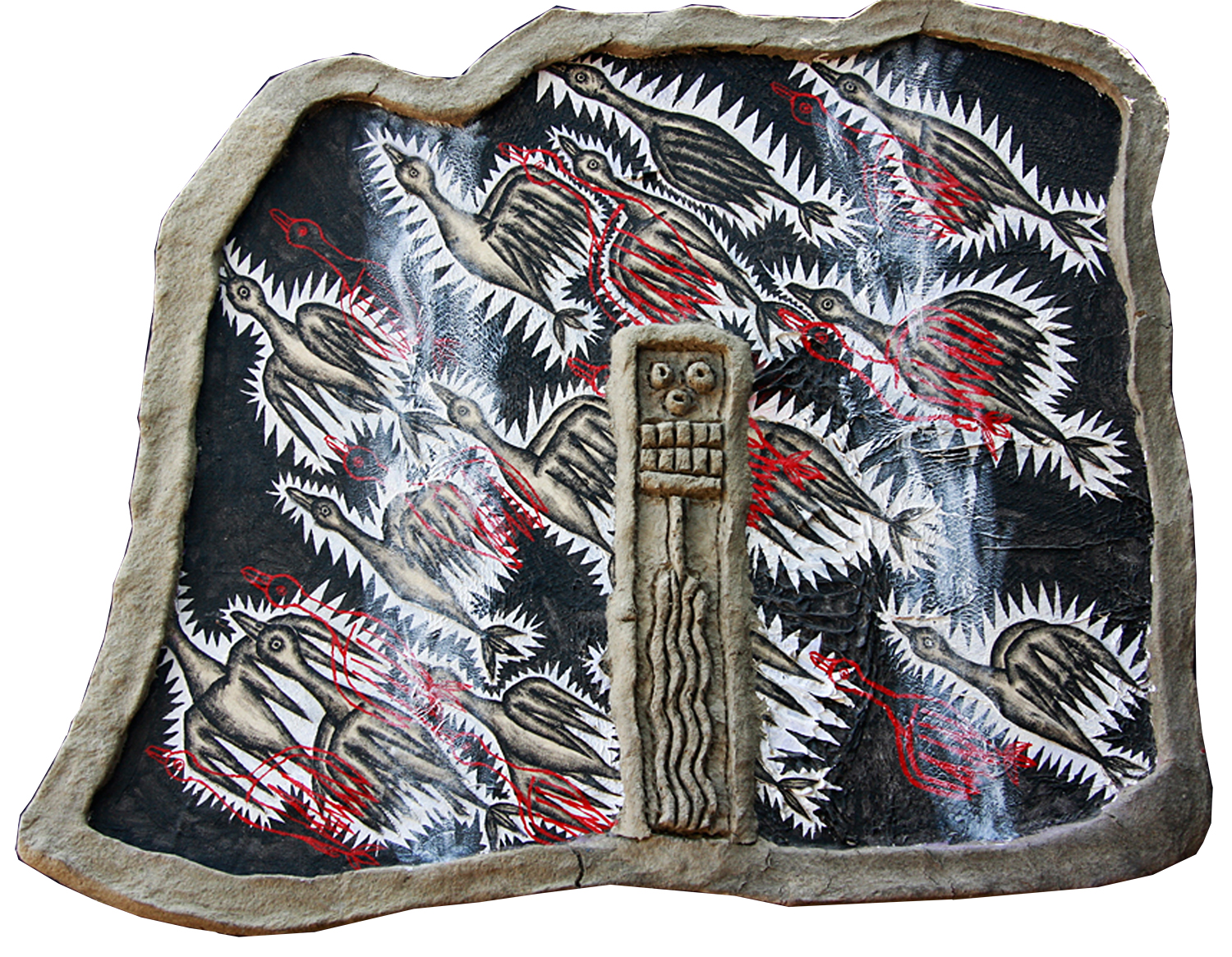 """'flock' ©1991, acrylic, patched canvas, shed boa constrictor skin, canvas, celluclay on wood, approximately 25"""" x 31 1/4""""."""
