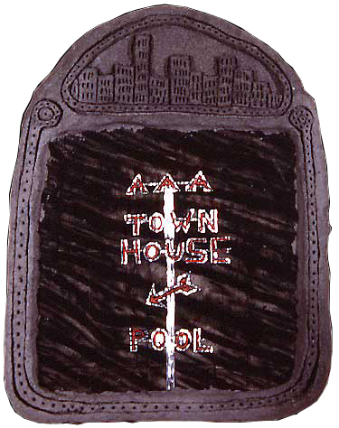 """'AAA town house', 22"""" x 17"""", acrylic, corrugated aluminum, celluclay on wood ©1987"""
