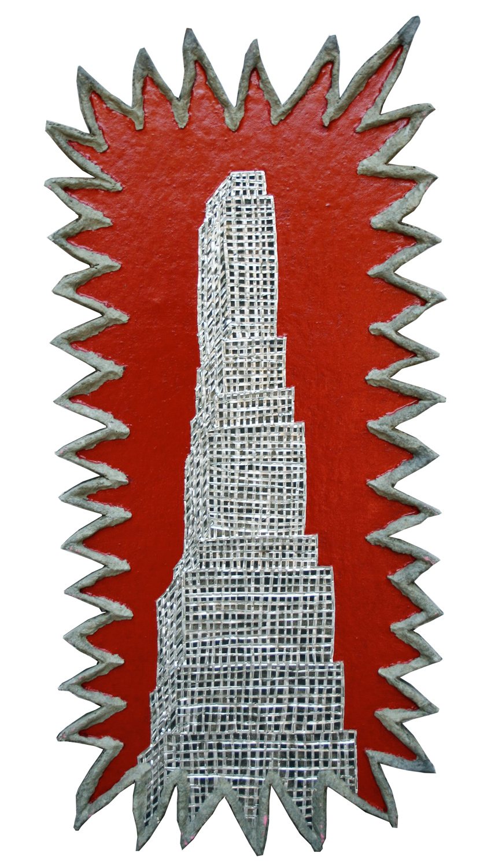 "'zig zag hi rise' ©1988-91, aluminum, enamel, celluclay on wood, 34 1/2"" x 16""."
