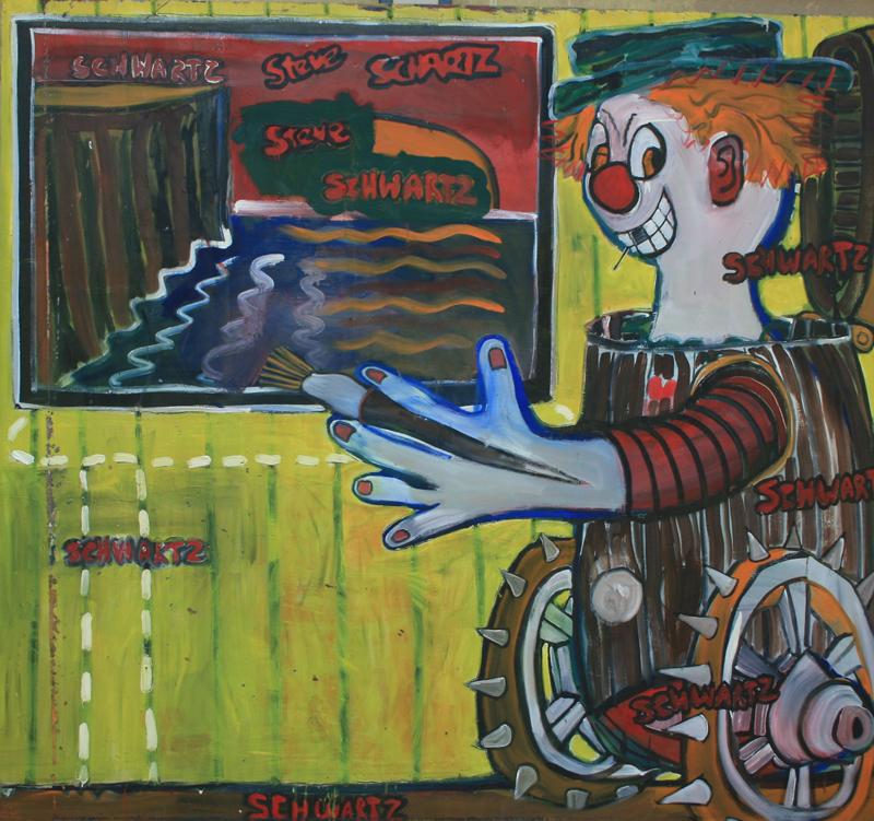 """Art Clown"" © 1982, 84"" x 92"", oil on canvas"