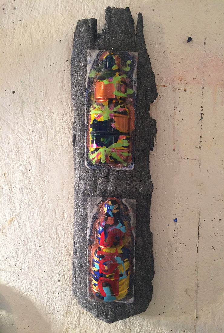 "#imageUnit.BURNT.OFFERING.-totem.ckoeiNv899dho2 ©2015, driftwood, blisterpacks, acrylic, enamel, diamond dust, 31.25"""" x 8"" x 3.75"""