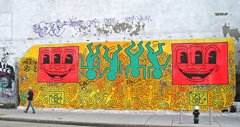 Keith Haring had painted it prior....