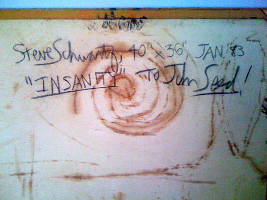 Back of Insanity, with inscription.