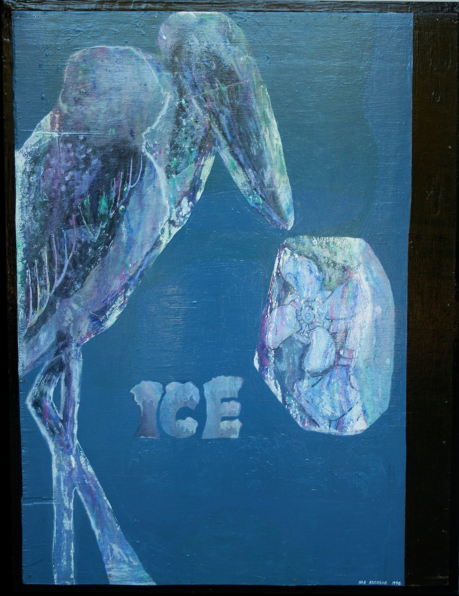 "'iced mirabou' ©96, acrylic,  graphite on wood, 38 1/2"" x 29 1/2"" Art for sale or lease."