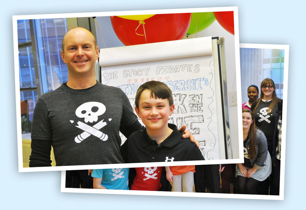 Kid author Vince Boberski with author Geoff Rodkey