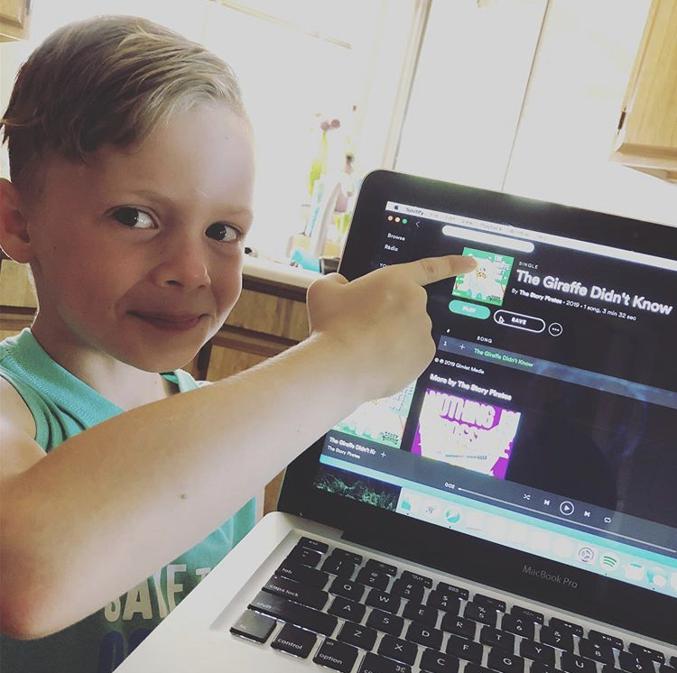 Jonah listening to the song!