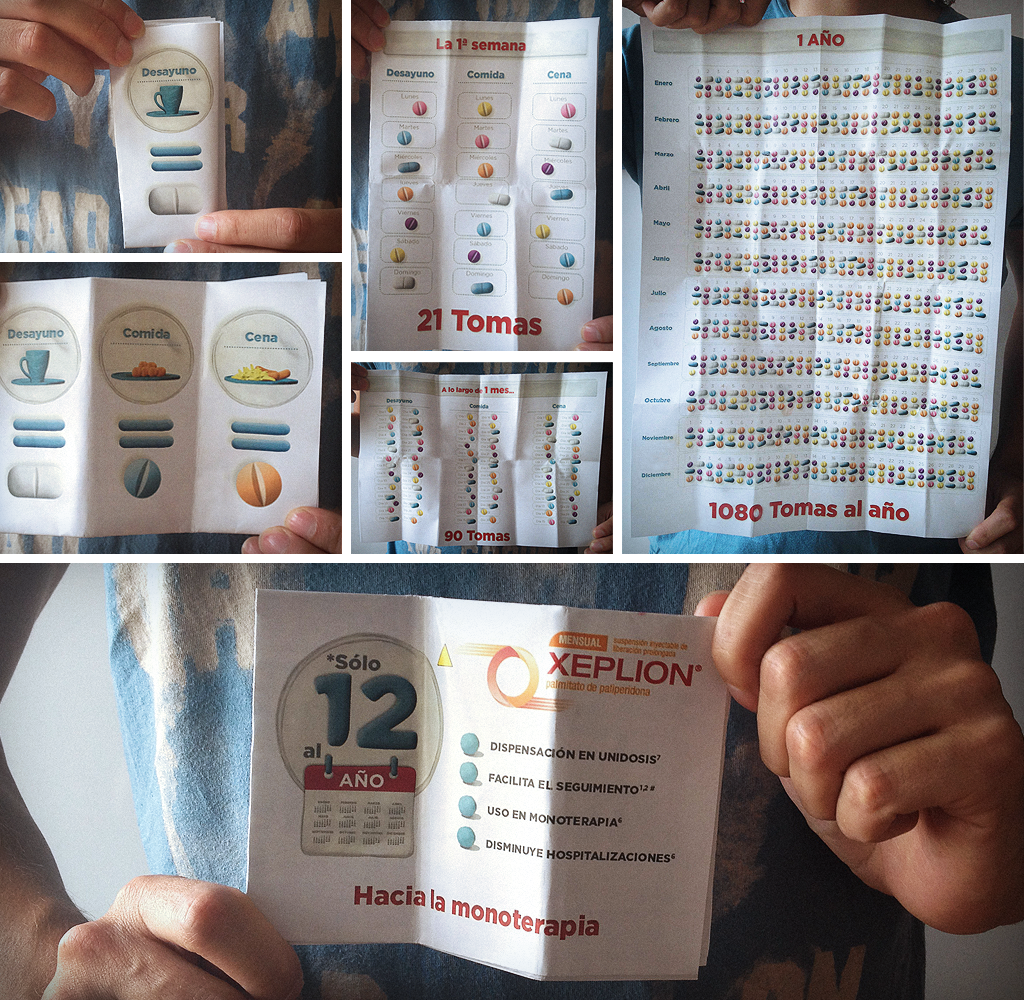 With this simple brochure, and using very few movements. We got to portray the real difference between Xeplion and a conventional daily treatment. As a result, we were very successful at convincing doctors.