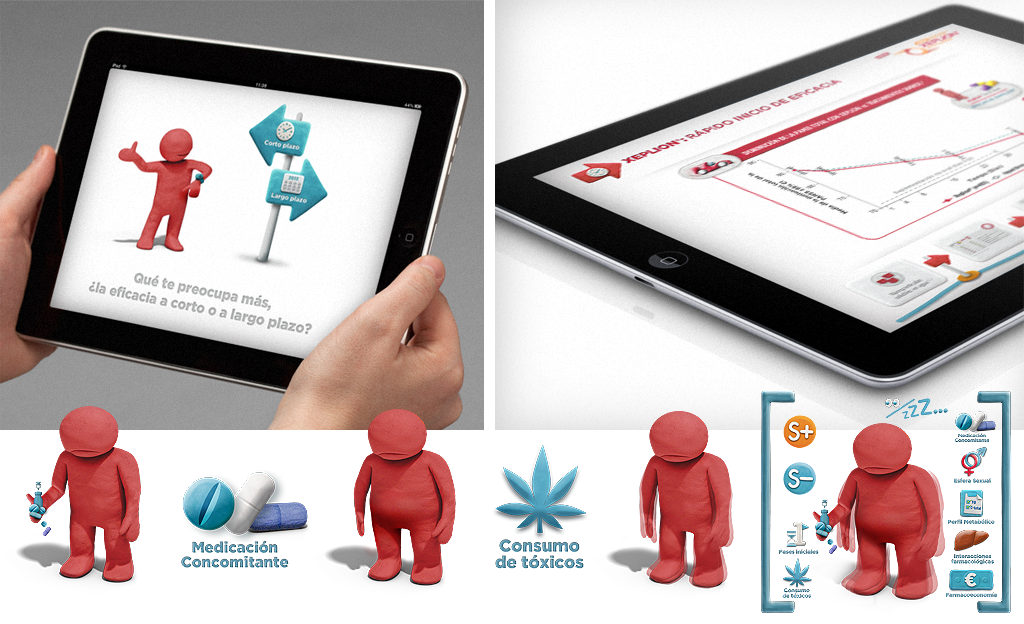 And of course Xeplion is in the App for iPads. We designed a lot of Xeplion Apps. We even created several 'Fred' avatars, with characteristics stemming from medical needs that doctors reported to health visitors.