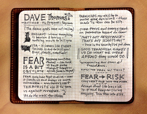 from Mike Rohde's sketchnotes of Dave Thomas's talk at  That Conference . You can see more of Mike's great work  at his site .