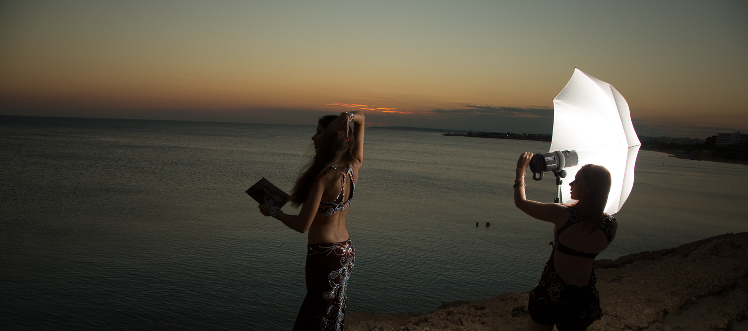 Behind-the-scenes photo of the shoot in Cyprus with Aliah Kluchenkova, assisted by Iana Komarnytska.