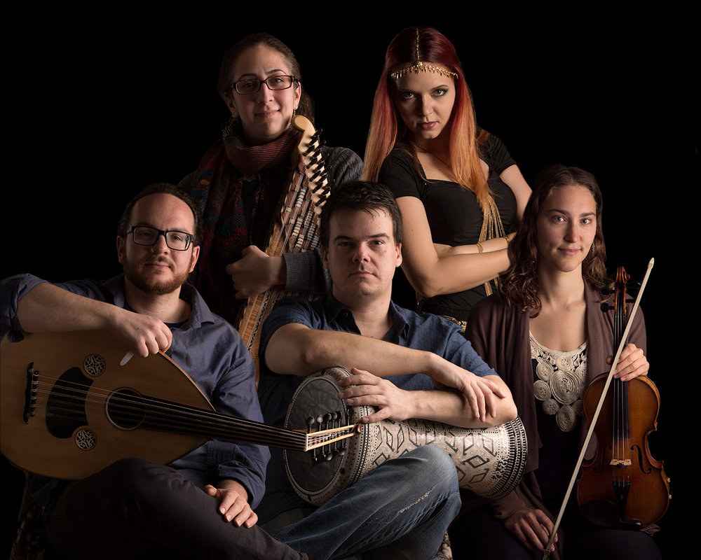 The Blue Dot Ensemble: Pedro Bonatto (percussion), Georgia Hathaway (violin), Sanaz Nakhjavani (kanun), Demetrios Petsalakis (oud) and Iana Komarnytska (dance).