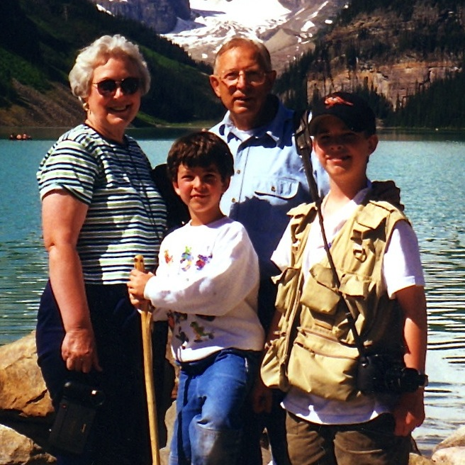 G randma, Pop-pa, my brother Brian and me (and all of Pop-pa's equipment) at Lake Louise.