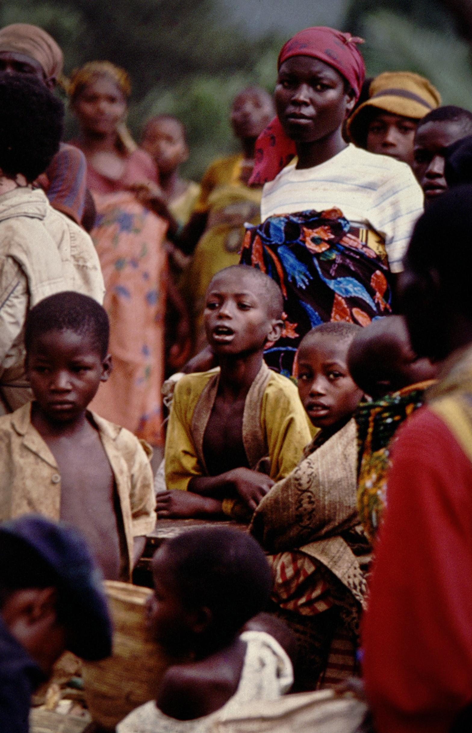 Tutsi refugees fleeing Rwandan genocide