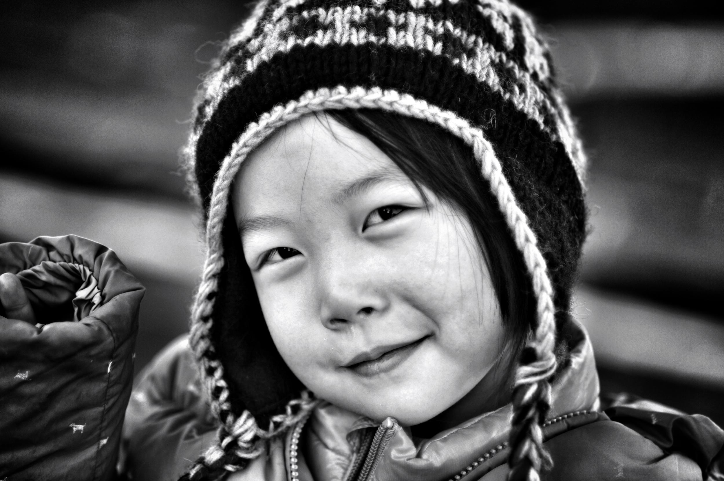 girl climbing great wall of china