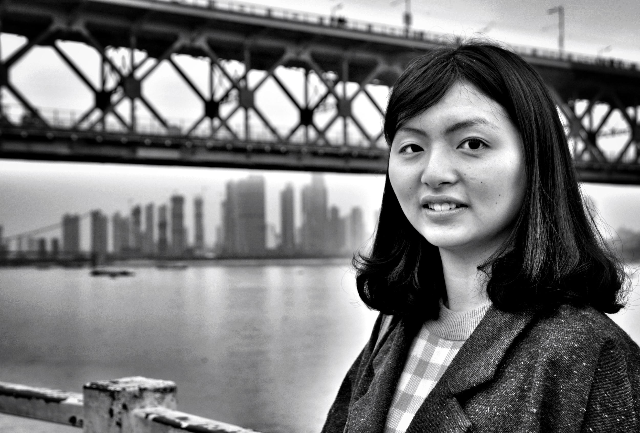 University student at Wuhan Yangtze River Bridge
