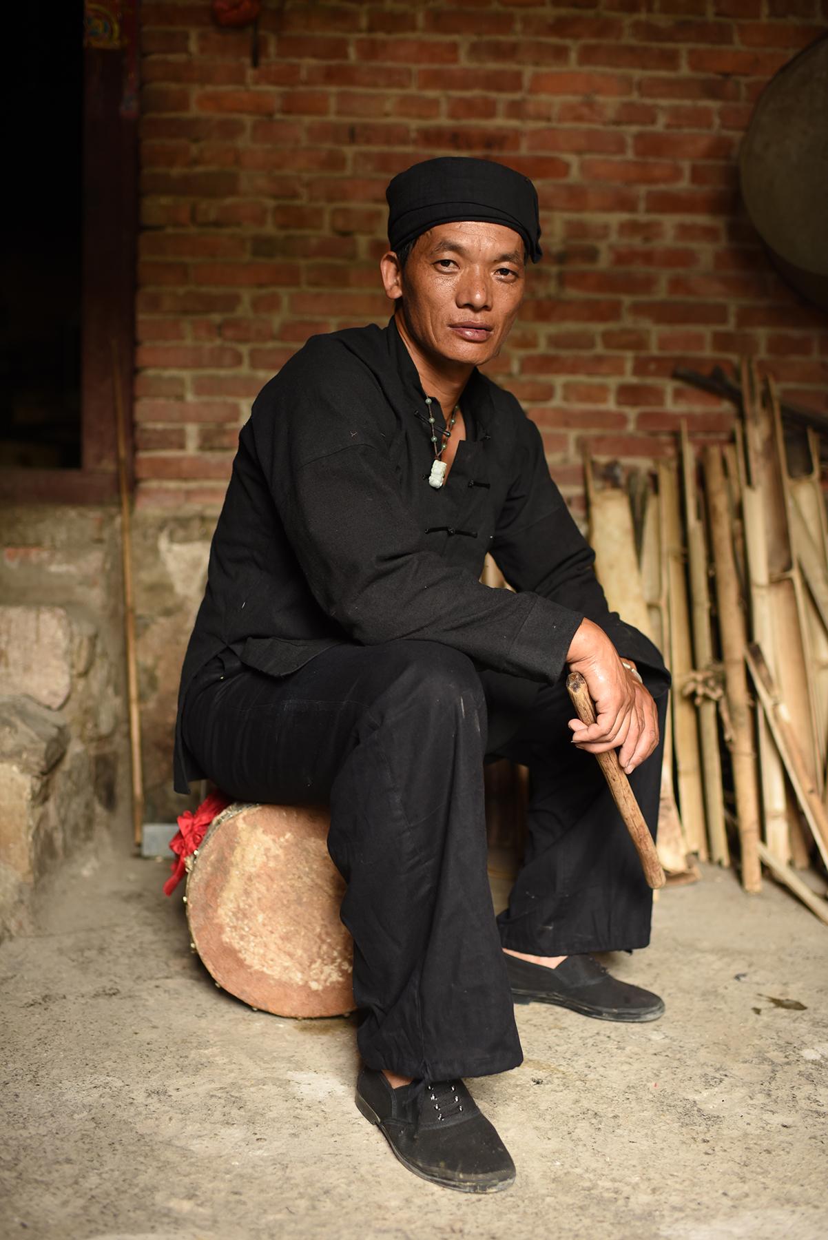 Inheritor of Mang Drum Dance Li Ke,Potuo village, Yunnan, 2017.