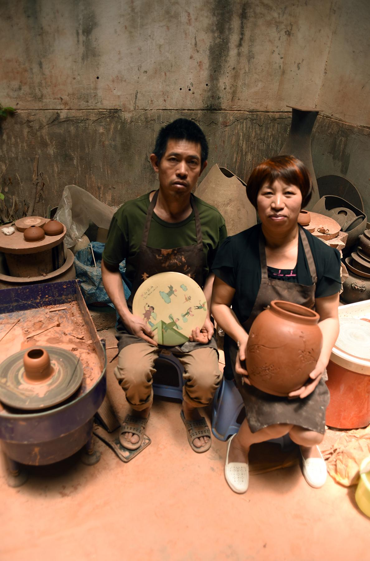 Mu Zhong and his wife Qing Fang,Inheritors of Purple Pottery Intangible Cultural Heritage, Jianshui, Yunnan Province.