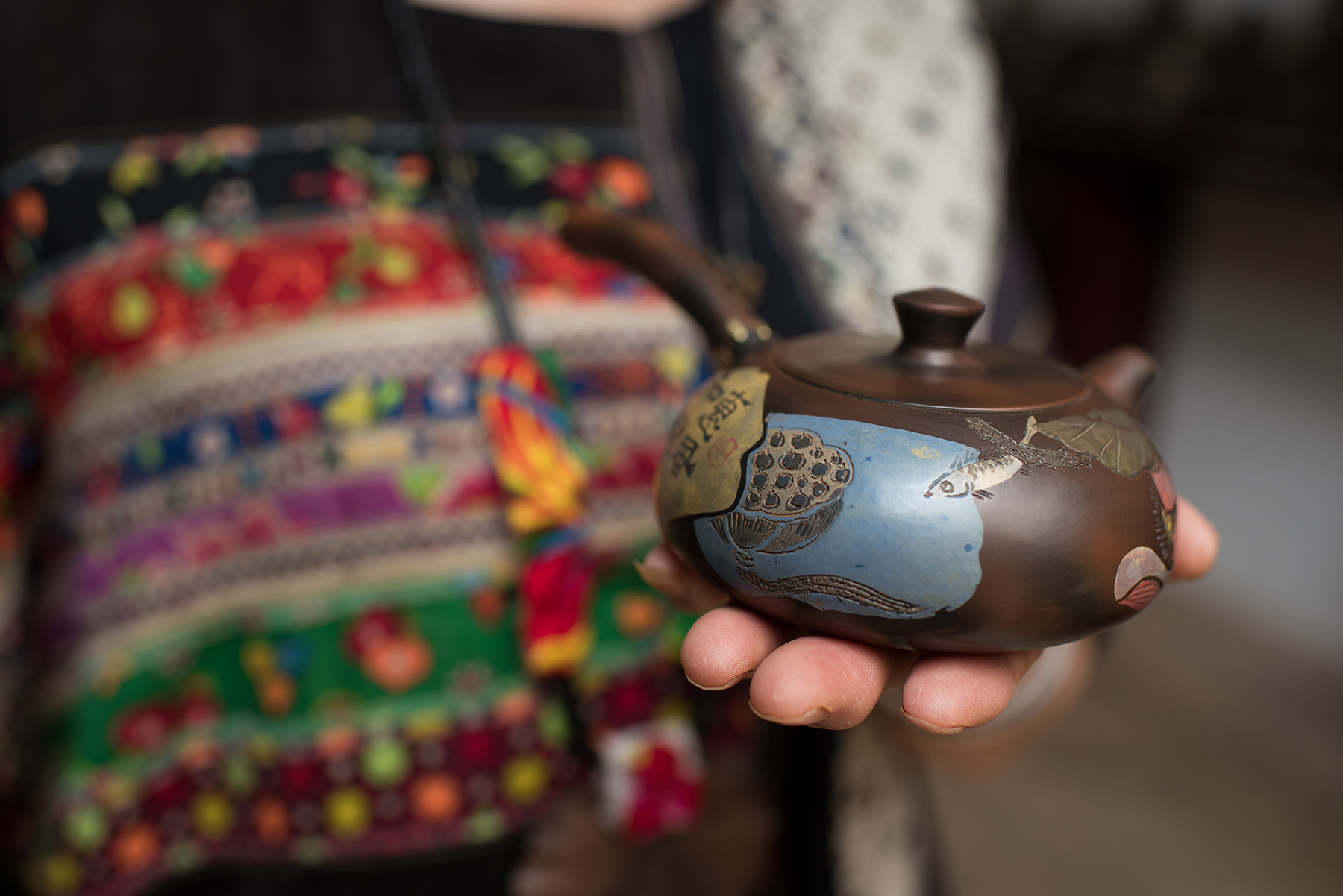 The work of Li Fen Yu, Inheritor of Purple Pottery Intangible Cultural Heritage, Jianshui, Yunnan Province.