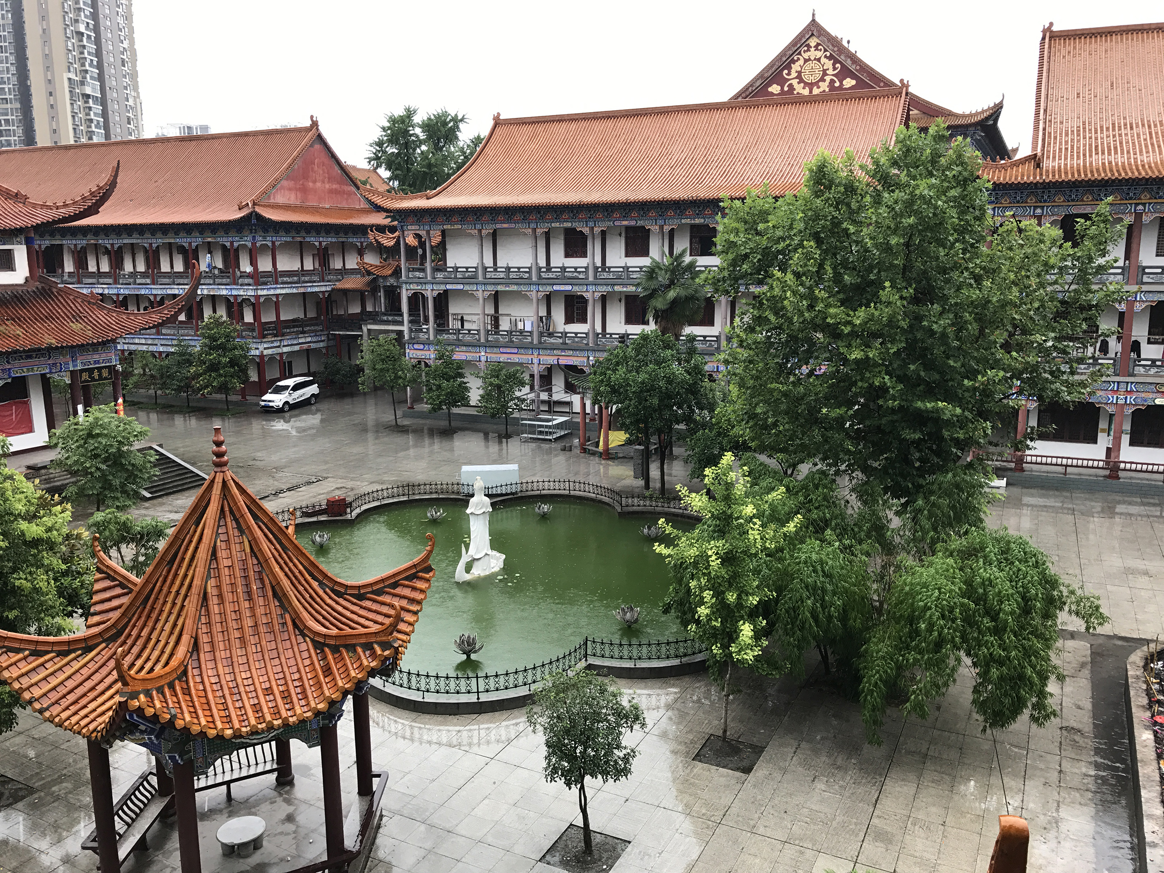 The view from the tower at Zhanghua Monastery,Jingzhou