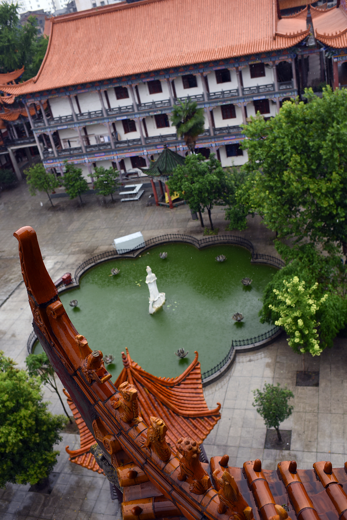 The view from atop the tower at Zhanghua Monastery,Jingzhou