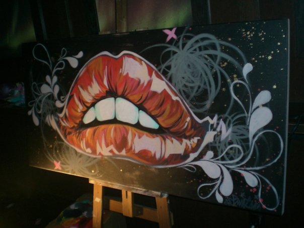 """red lips (live painting)  2008 18"""" x 36"""" acrylic on canvas  SOLD"""
