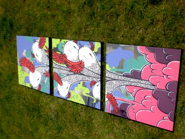 """untitled  2008 three 18"""" x 18"""" panels acrylic on canvas  Commissioned"""