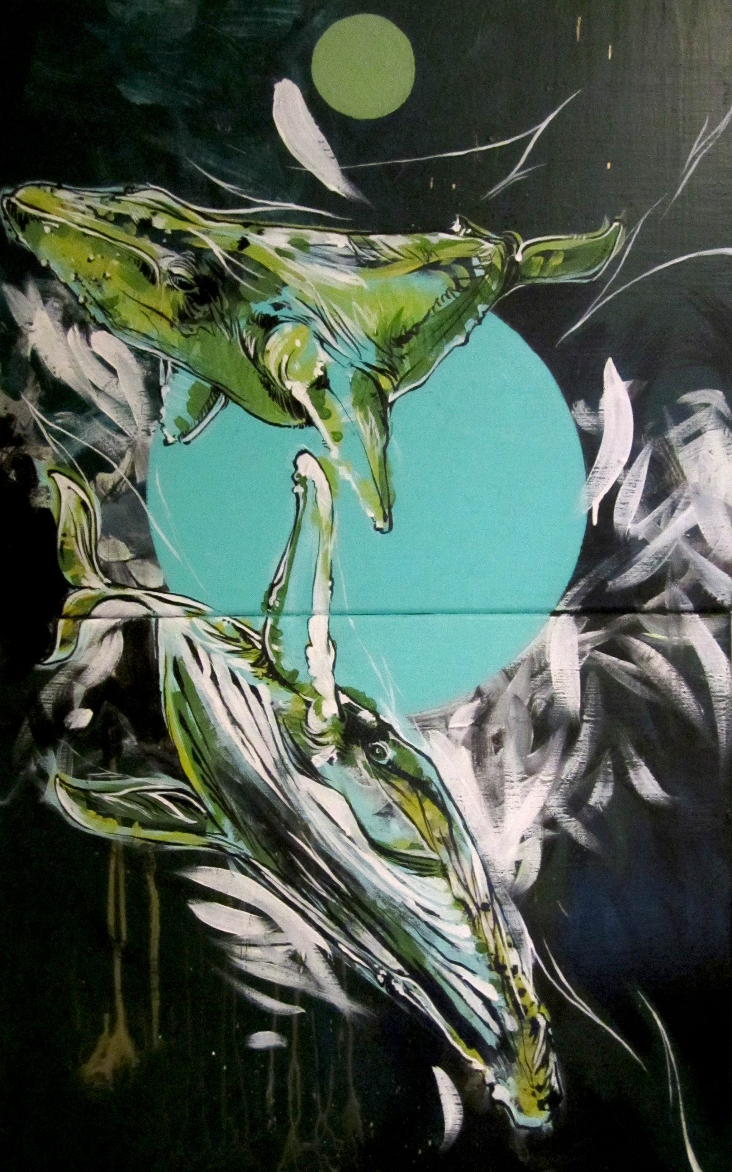 """whales  2010 two 12"""" x 18"""" panels acrylic on canvas  Commissioned"""