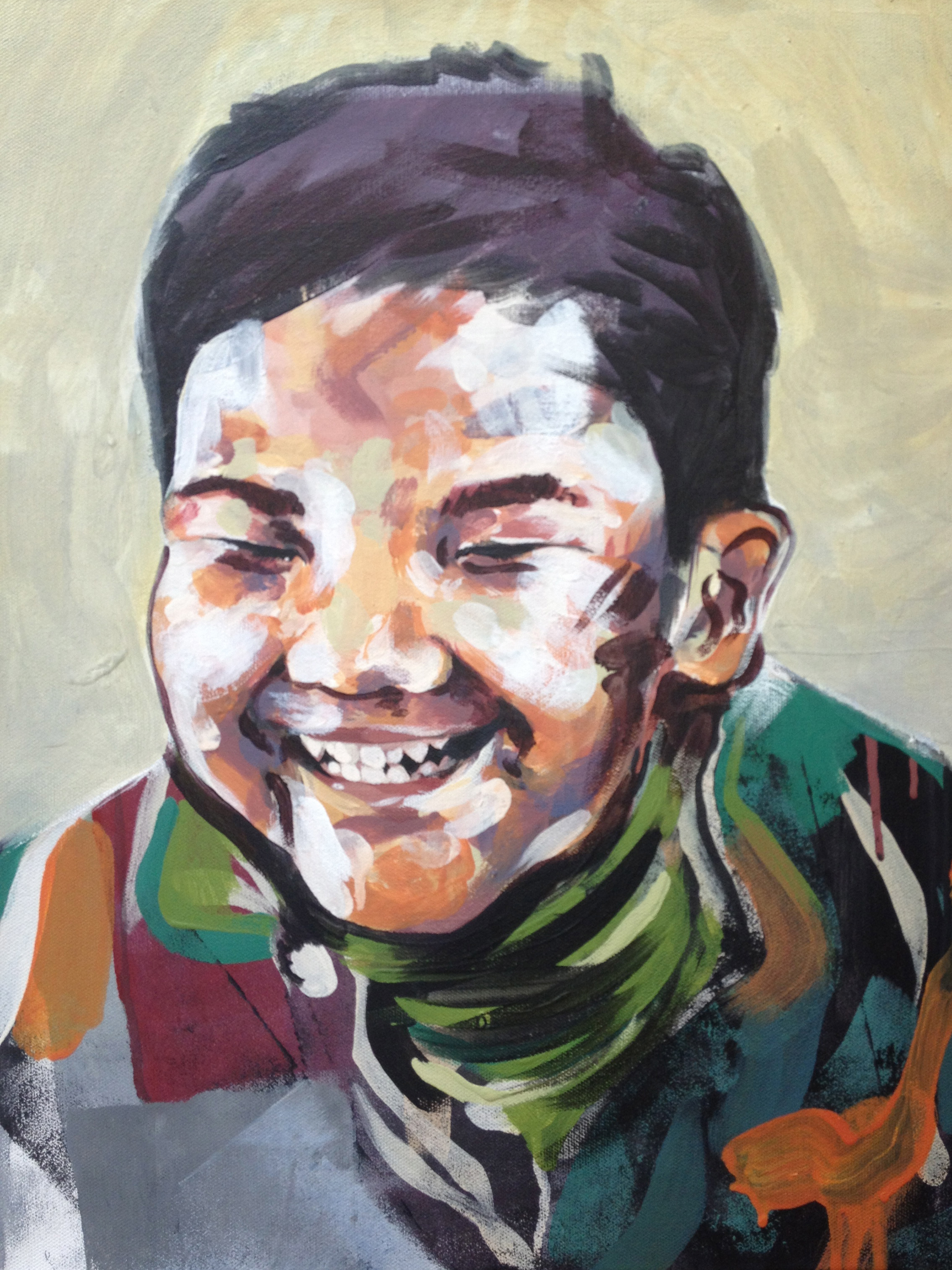 """Portrait - boy two  Series of Portraits of the abandoned and disabled children in China under the care of International China Concern.  2013  15.5"""" x 19.5"""" acrylic on canvas"""