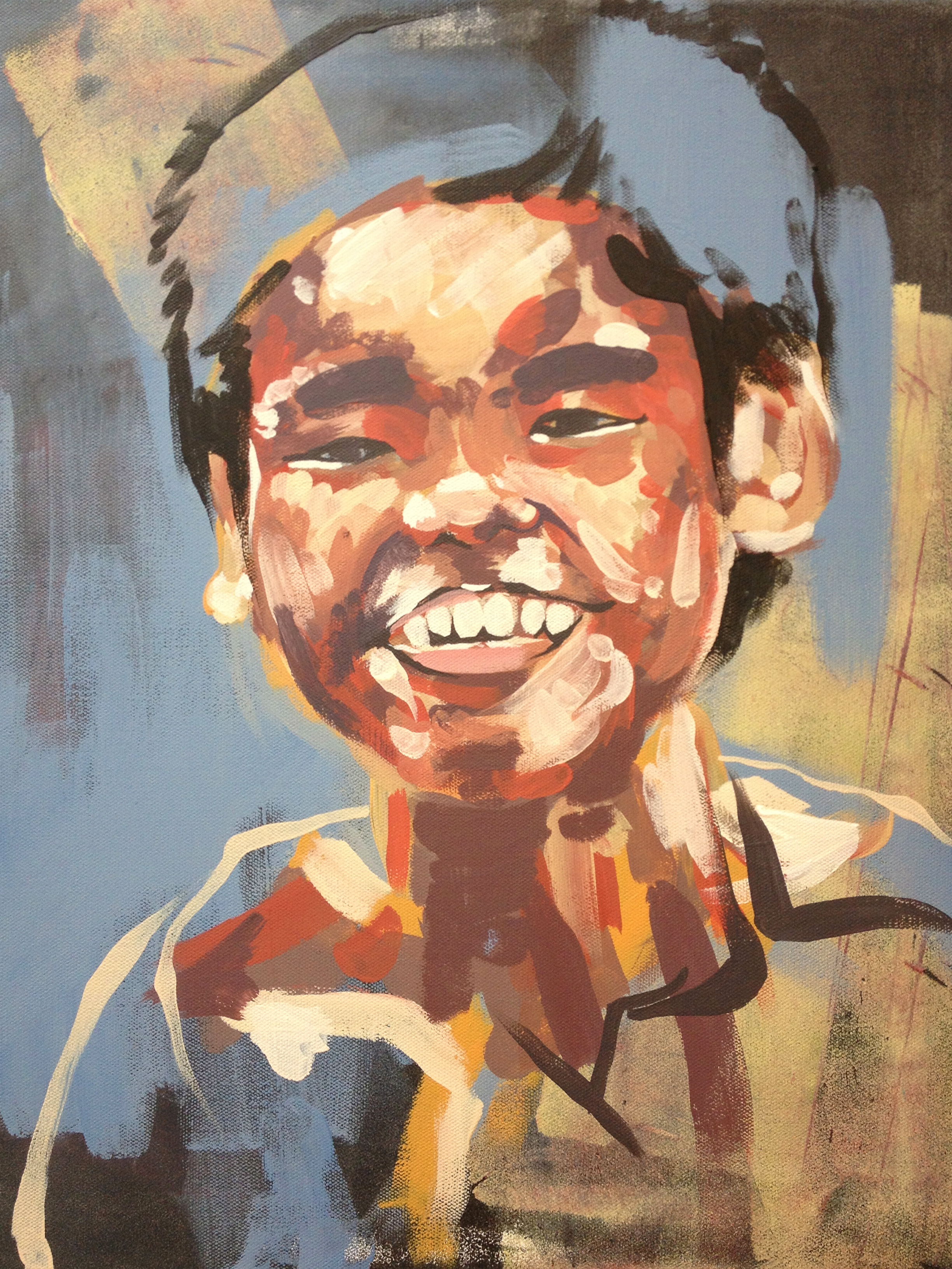 """Portrait - boy one  Series of Portraits of the abandoned and disabled children in China under the care of International China Concern.  2013  15.5"""" x 19.5"""" acrylic on canvas"""