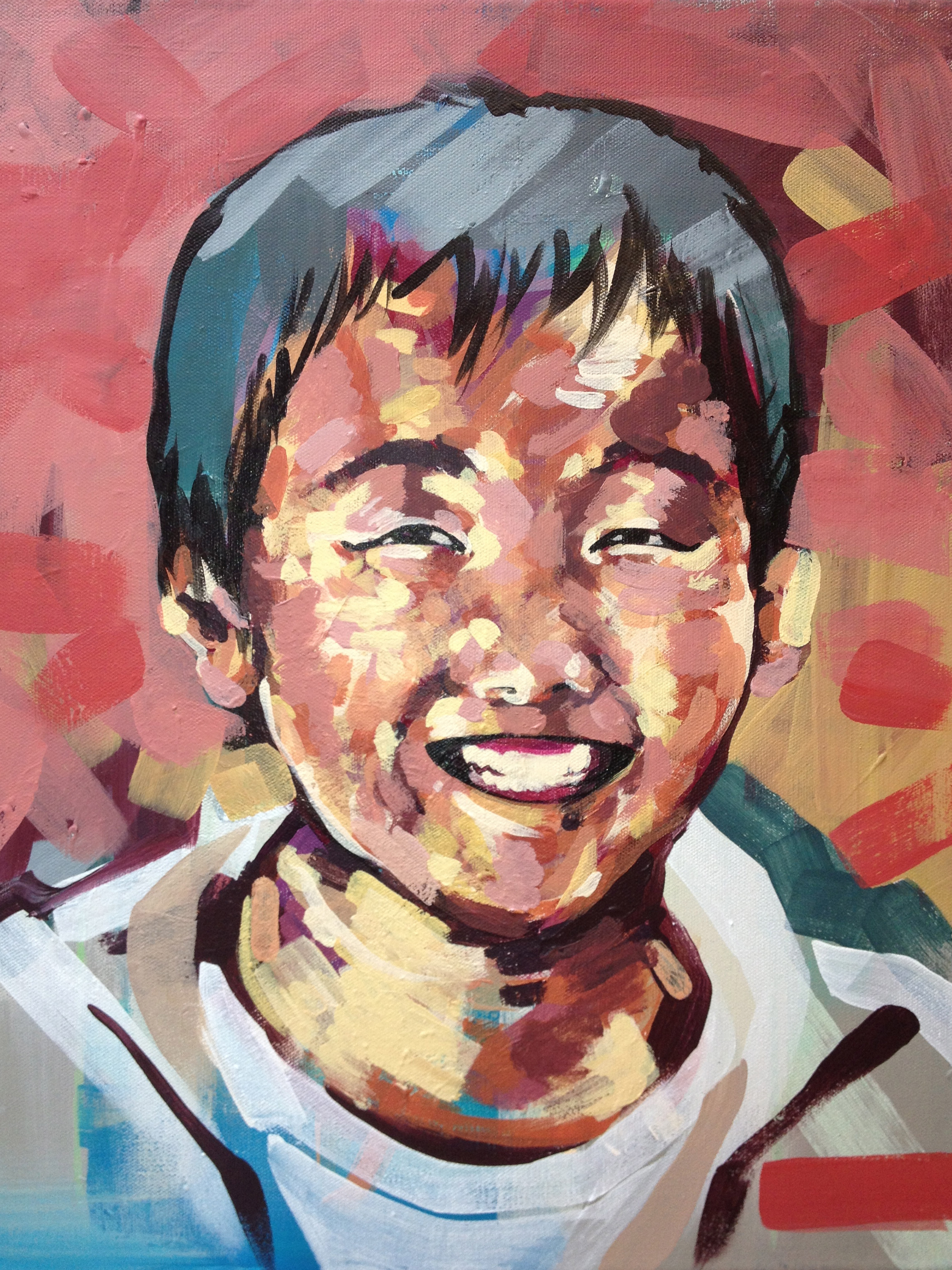 """Portrait - boy three    Series of Portraits of the abandoned and disabled children in China under the care of International China Concern.  2013  15.5"""" x 19.5"""" acrylic on canvas"""