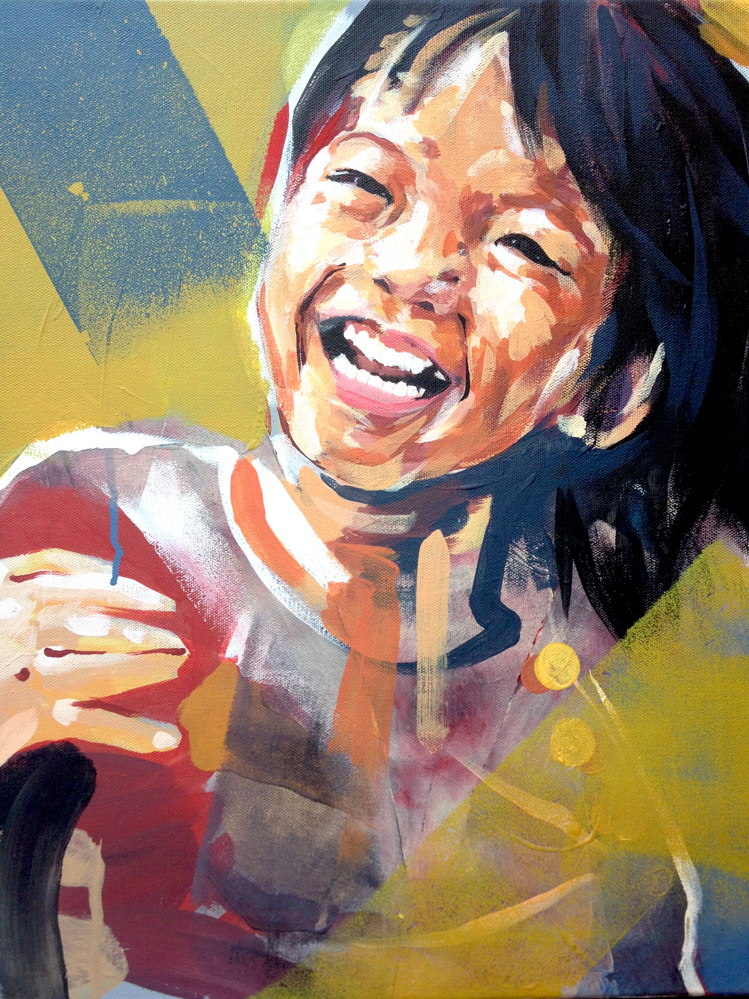 """Portrait - girl one    Series of Portraits of the abandoned and disabled children in China under the care of International China Concern.  2013  15.5"""" x 19.5""""   acrylic on canvas"""
