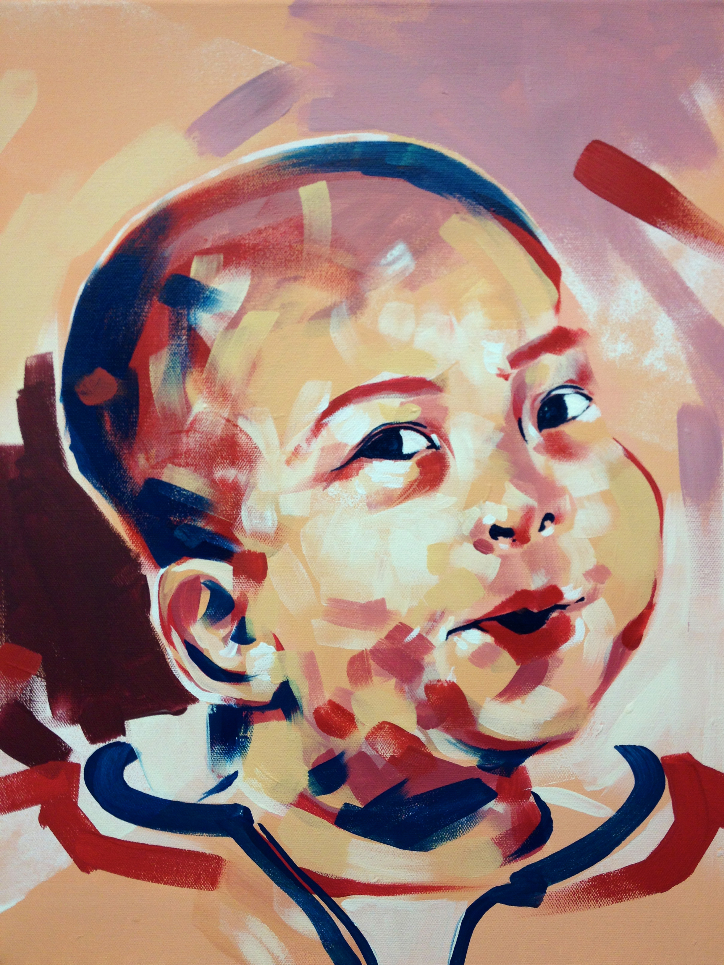 """Portrait - boy five  Series of Portraits of the abandoned and disabled children in China under the care of International China Concern.  2013  15.5"""" x 19.5"""" acrylic on canvas"""