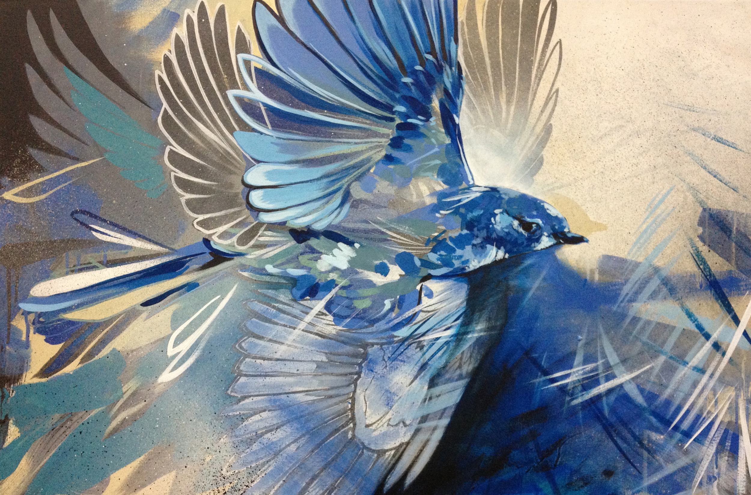 """Blue Bird  2013 24"""" x 16"""" Acrylic on Canvas  Commissioned"""
