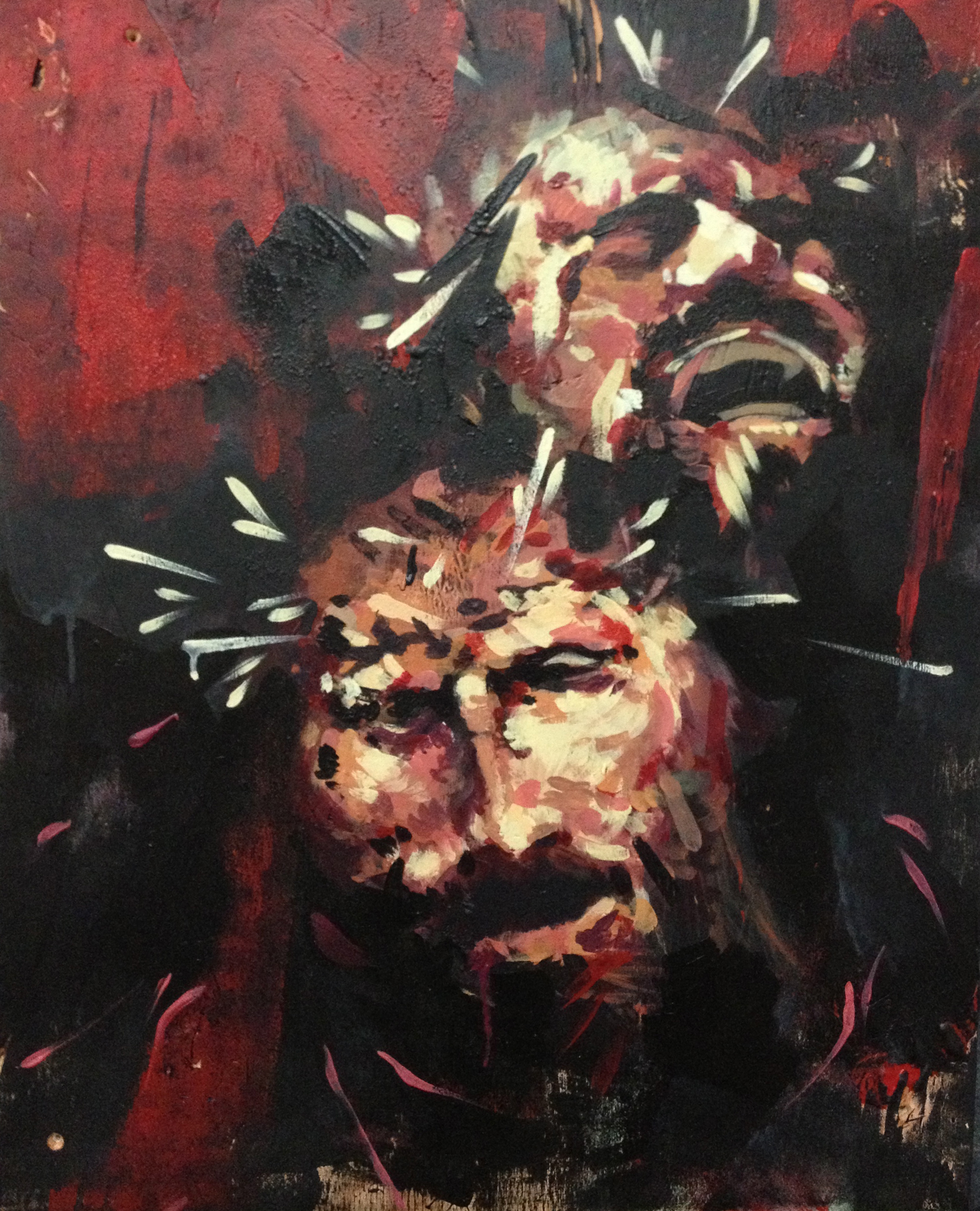 """Jesus on the Cross  2013 24"""" x 18""""  Acrylic on found wood  SOLD"""