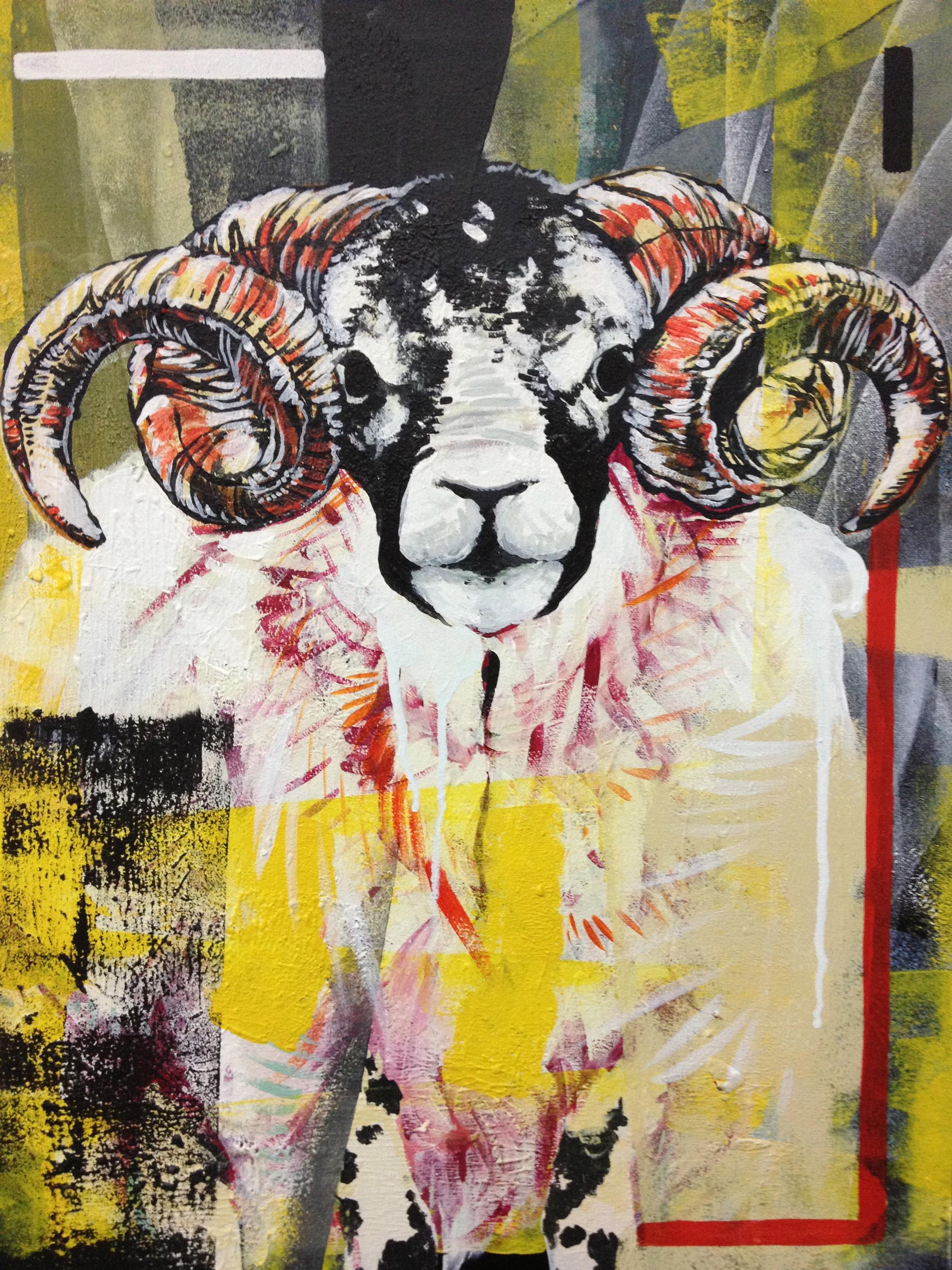 """Ram  2013  12"""" x 18"""" acrylic on canvas  $350"""
