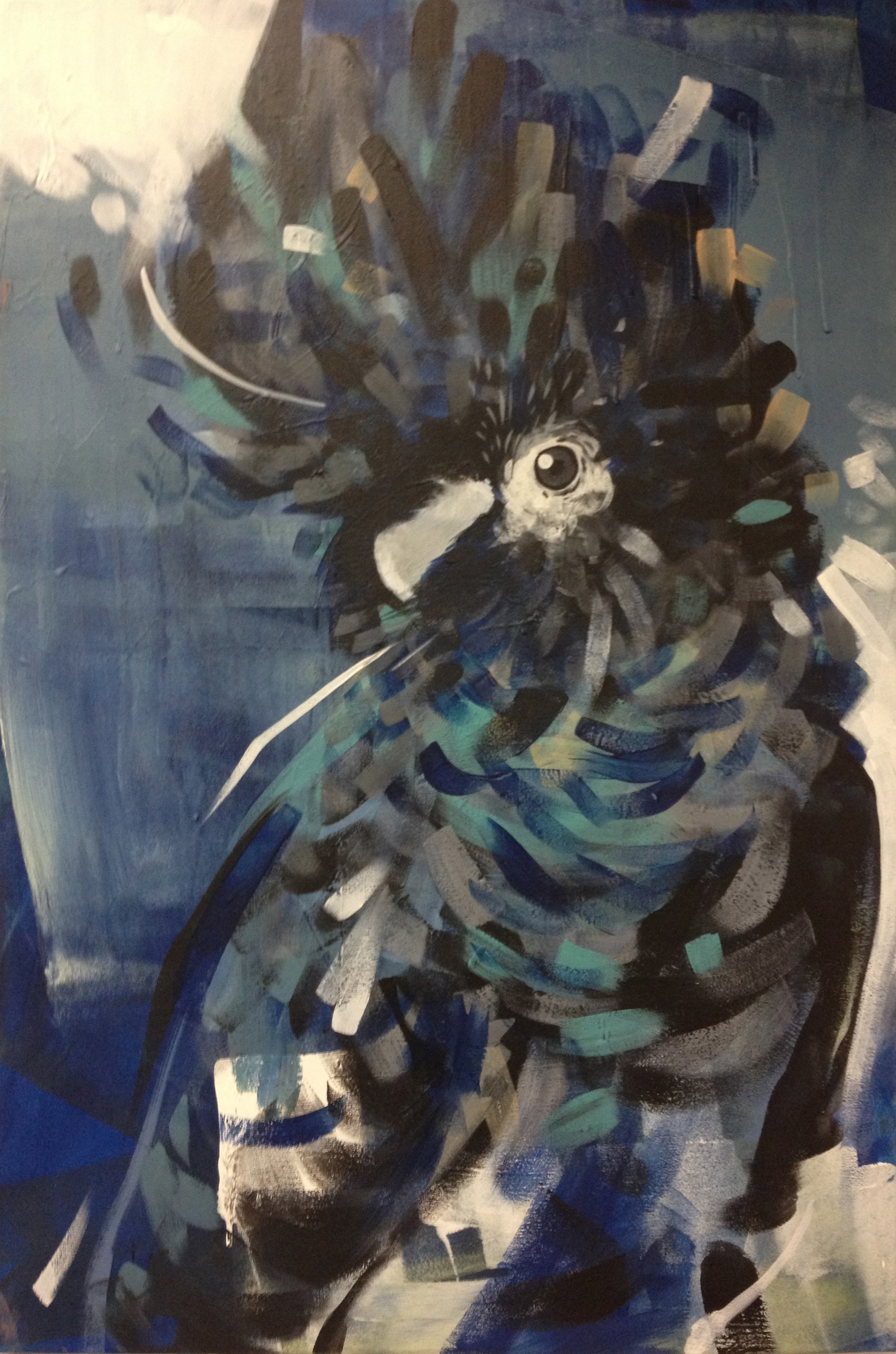 """Dark bird  2013 24"""" x 36"""" acrylic on canvas  $450"""