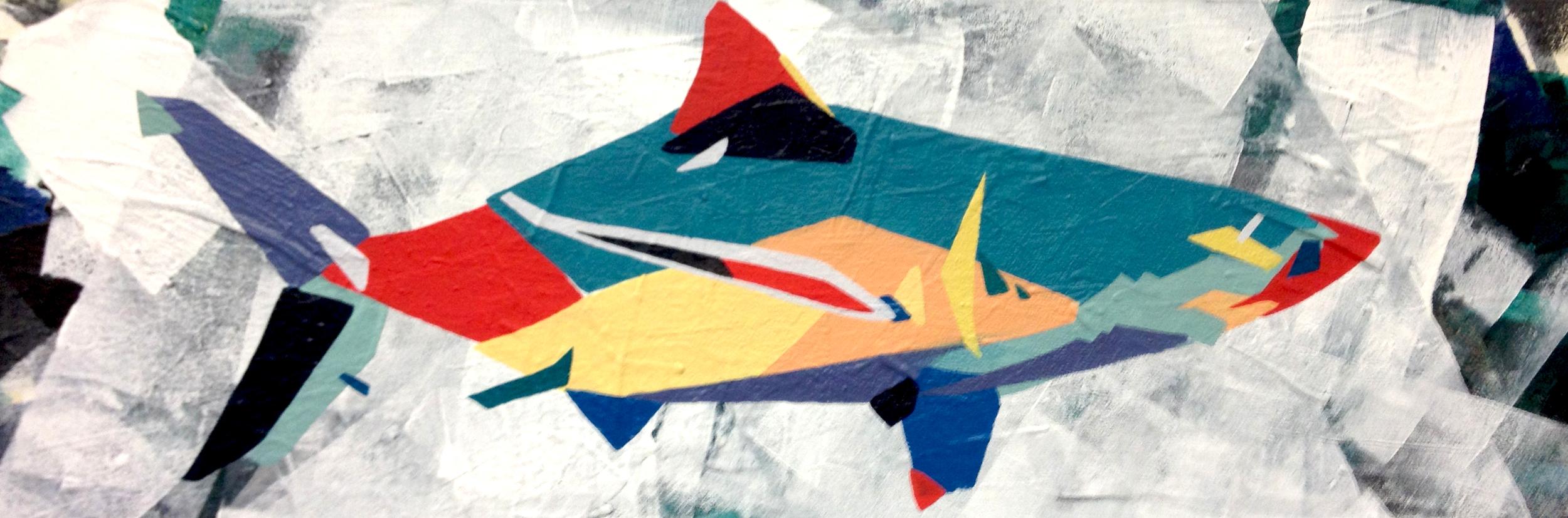 """Shark  2014 36"""" x 12"""" Acrylic on Canvas  $350"""