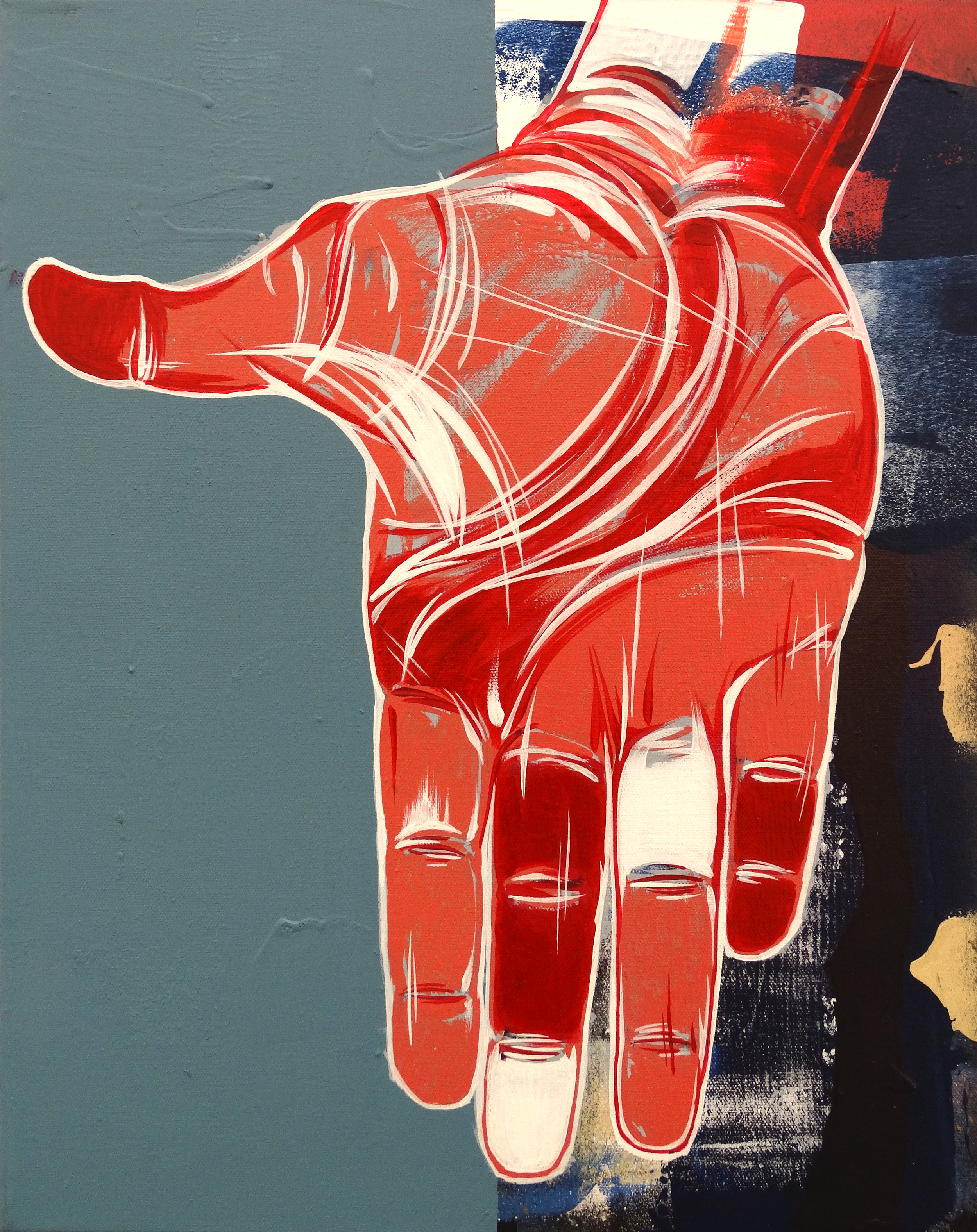 "Red Handed  16"" x 20""Acrylic on Canvas  $ 650"