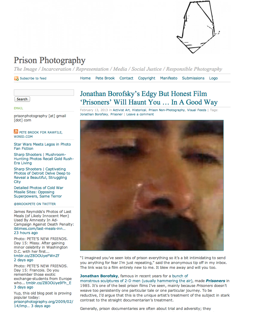 "Writer Pete Brook's blog, ""Prison Photography""."