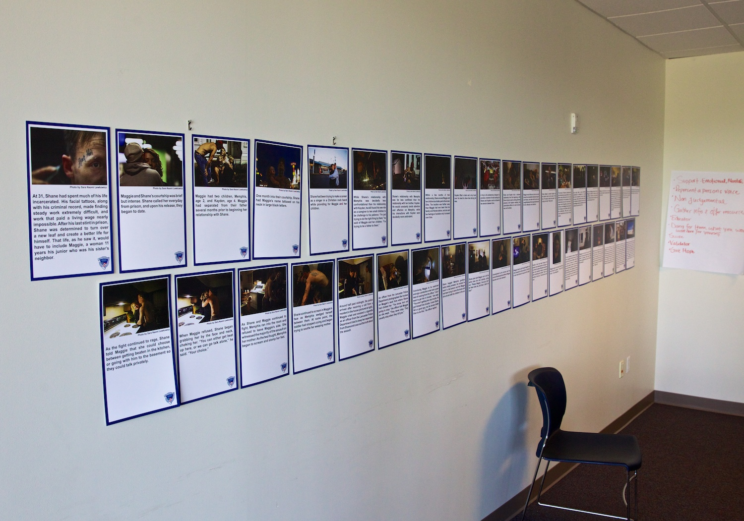 Sara Lewkowicz's 39 photos hang in a class room for training victim advocates.