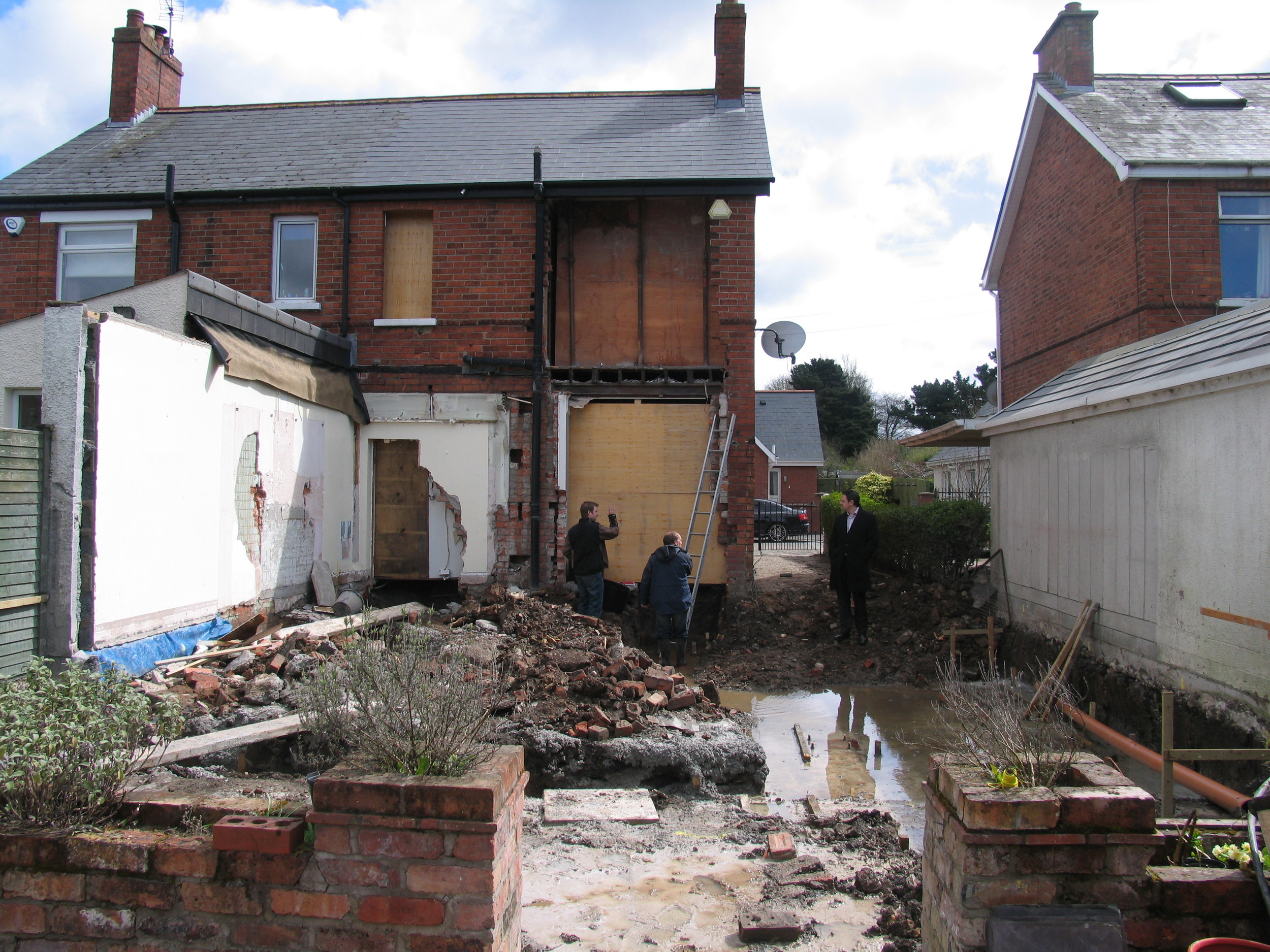 existing extension demolished and foundations poured