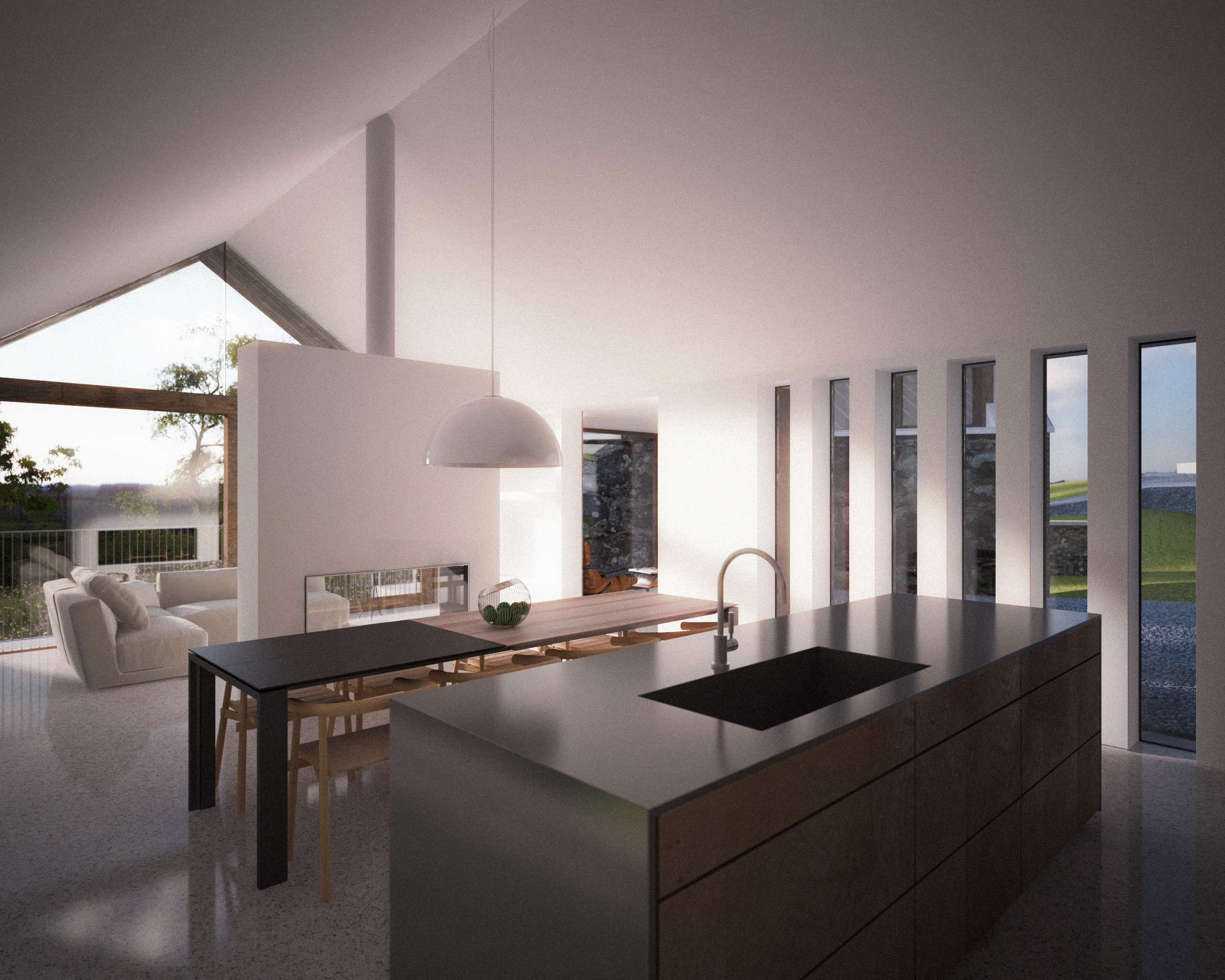 kitchen, dining and living space